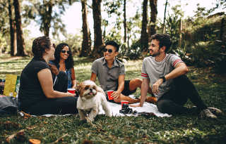 group of friends at park
